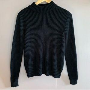H&M DIVIDED BLACK RIBBED MOCK NECK SWEATER EUC